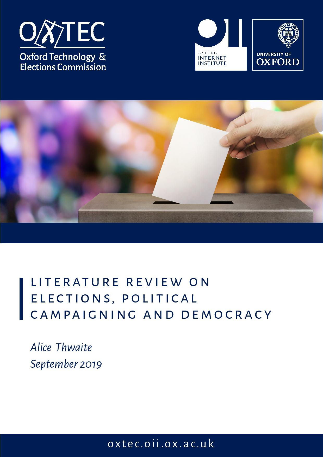 Literature Review on Elections, Political Campaigning and Democracy